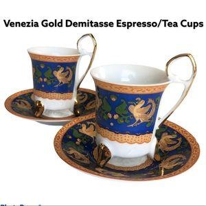 Venezia Gold Demitasse Espresso Tea Cups Saucers